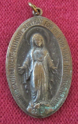 Antique Catholic Religious Medal - Miraculous - VERY OLD & WORN - LARGE