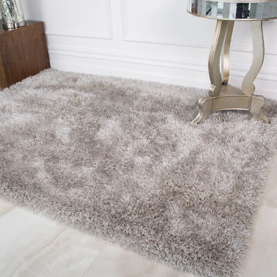 Modern Thick Grey Silver Polyester Shaggy Rug Soft Cosy Warm Living Room Rugs UK