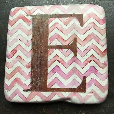 Rustic Alphabet Resin Coaster D