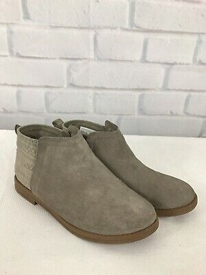 99a84e51963 TOMS Big Girls Youth SZ 4 Deia Desert Taupe Suede Booties Boots Shoes Y4