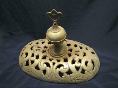 Antique Cast Iron Pot Belly Kitchen Cook Coal Stove Top Finial Ornate Oval