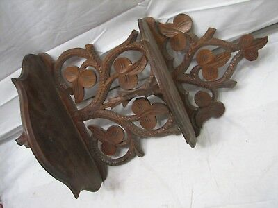 Antique Hand Carved Wooden Wall Trinket Shelf Walnut Wood Ornate Victorian