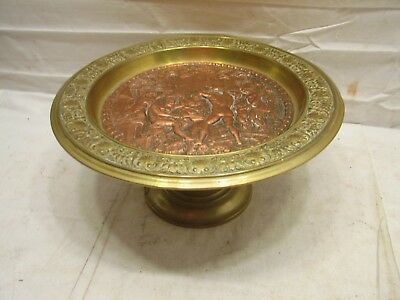 Vintage Brass & Copper Ornate Decorative Cake Plate Stand Embossed Scene