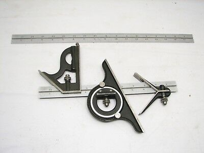Starrett No. 12 Combination Machinist Square Protractor Tool No.4 Rule 12/18""