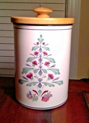 "Lenox Poppies On Blue"" Chinastone Christmas Cookie Jar w/ Wooden Lid - Retired"