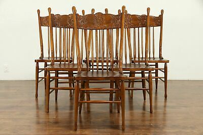 Set of 6 Victorian Antique Press Back Carved Oak Dining Chairs #30884