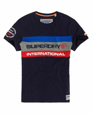New Mens Superdry Trophy Tri Colour T-Shirt Dark Trophy Navy