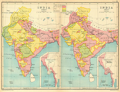 INDIA HISTORICAL. 1837 & 1857. British, Hindu & Muslim states 1931 old map