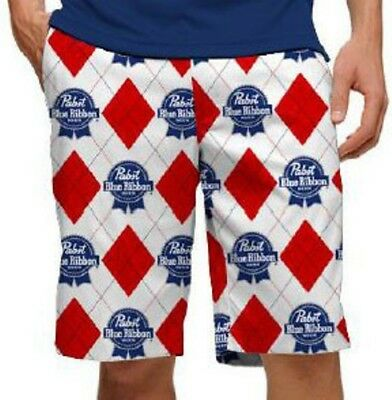 PBR Pabst Blue Ribbon Beer Loudmouth Golf Shorts Mens 32 Red White Blue Argyle