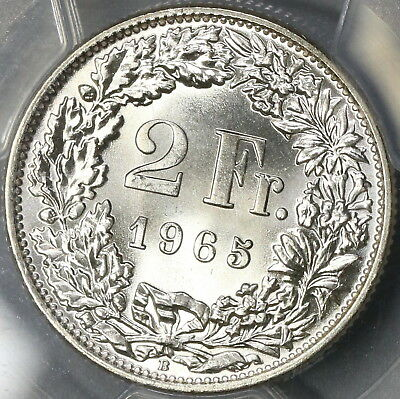 1965 PCGS MS 66 Switzerland Silver 2 Francs Swiss Coin (17111102CZ)
