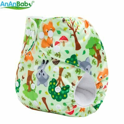 Reusable Washable Double Row Snaps One Size Prints Baby Pocket Cloth Diaper S