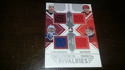 2013-14 ITG Decades 1990s Rivalries Quad Jersey ROY SAKIC YZERMAN OSGOOD Silver