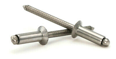 "POP Rivets ALL Stainless Steel 3/16"" (#6C) Countersunk Open End Blind Rivets"