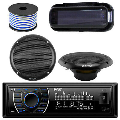 "Kenwood KMRM325BT Marine Bluetooth USB Receiver, 2X 6.5"" Speaker, Stereo Cover"