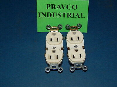 Lot of 2 Eagle 15A-125V White Ground Duplex Receptacle Outlet 15A125V