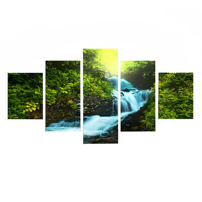 Large Canvas Print Art Wall Picture 5 Panels Sunset Ocean Framed Waterfall