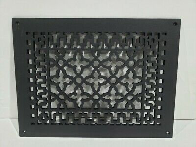 Reggio Registers Scroll Cast Iron Grille w/Mounting Holes-Black 1216-H
