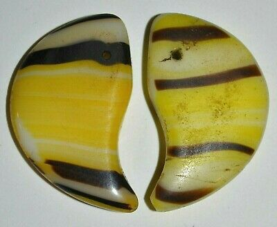 Antique Czech Molded Yellow Glass Lion Claw Tabular Wedding Beads, African Trade