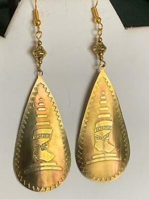 Rare-Very Old*handcrafted Antique Brass Egyptian Revival Nile Queen Earrings