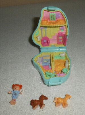 Vintage Polly Pocket 1995 Bluebird PONY SISTERS Blue Compact w/Doll & 2 Horses