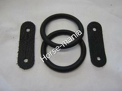 PEACOCK SAFETY IRONS STIRRUPS SPARE RUBBER RINGS /& LEATHER CLIPS TABS REPLACEMENT 1 PAIR Brown