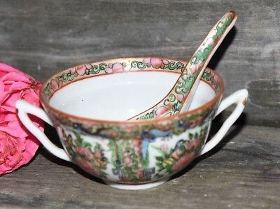 Antique Chinese Famille Rose Medallion Double Handle Cup Bowl & Spoon Butterfly