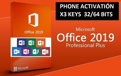 Microsoft Office 2019 Pro Plus 32/64 BITS ( x3KEYS - PHONE ACTIVATIÓN) MultiLang