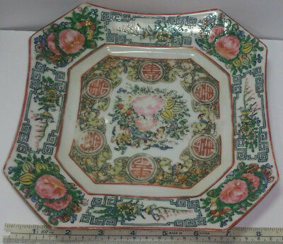 "Antique Chinese Export Canton Famille Verte Square 8.25"" Painted Porcelain Plate"