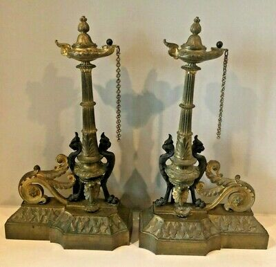19th c LOUIS XVI STYLE Brass FRENCH CHENETS ANDIRONS w/GRIFFINS & ACANTHUS