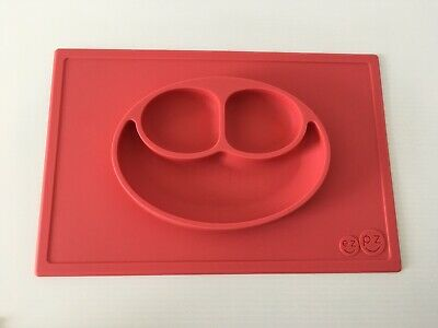 Ezpz Silicone Happy Mat One Piece  Placemat with Built in Plate Red