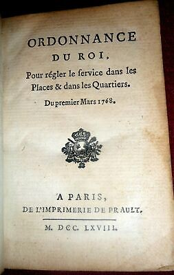 1768 France: French Army Regulations under Louis XV.  Ordonnance du Roi 1stEd