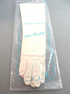 Van Raalte Classic Evening Formal Cocktail Opera Gloves Oyster Size 7 Length 15""