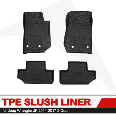 KIWI MASTER Floor Liners TPE Slush Front Rear Mats for Jeep Wrangler JK 14-17 2D