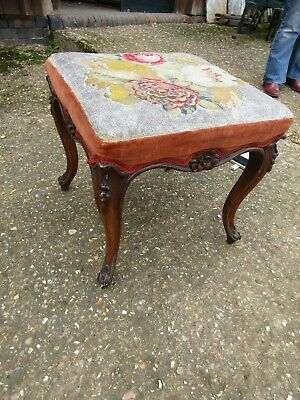 Stunning Carved Cabriol Legs Mid 19Th C. Dressing Stool Orig. Beaded Upholstery