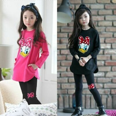 2pcs Kids Baby Girls Long Sleeve Cartoon Sets Tops+Pants Children Cotton Outfits