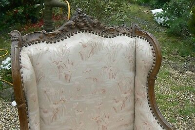 Quality Exquiste Antique French Highly Carved Antique Walnut Orig Wing Chair