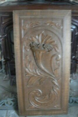 Stunning Antique C1890 Solid Oak Beautifully Carved Cornucopia & Floral Panel