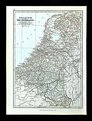 1883 Blackie Map - Belgium Holland Luxembourg Amsterdam Brussels The Netherlands