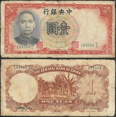 CHINA - 1 yuan 1936 P# 212a The Central Bank of China - Edelweiss Coins