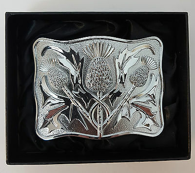 Clearance offer Chrome 3 thistle Kilt Belt Buckle Gift boxed half price