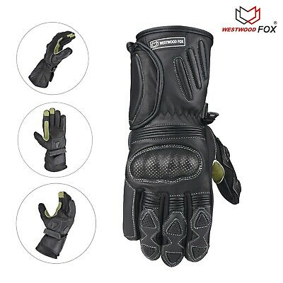 WFX Leather Thermal Winter Motorbike Motorcycle Gloves Carbon Fiber Knuckles