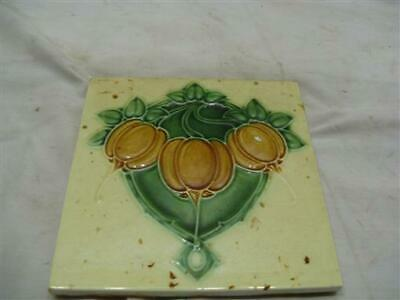 early Floral Majolica Ceramic Tile Art Garden Floor Pattern Floral Architectural