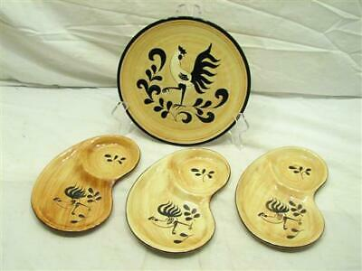 Lot Vintage Pennsbury Pottery Rooster Cock Chicken Theme Plate Chip'n'Dip