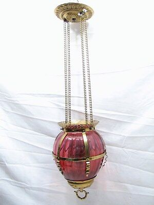 Early Cranberry Art Glass Shade Pendant Chandelier Ceiling Hall Light Fluid Lamp
