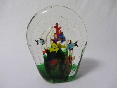 Murano Italian Glass Controlled Bubbles Large Aquarium Paperweight Fish Coral