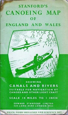 Stanfords Canoeing Map of England & Wales - 1962