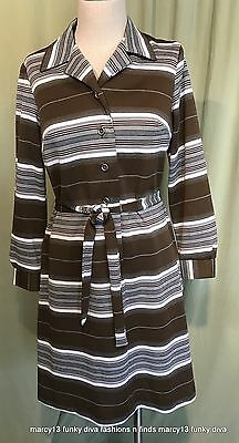 Fun Vintage 60's 70's Gray & Brown Stripe Belted Poly Dress 14 Bust 36