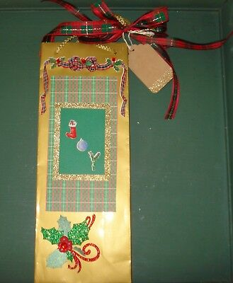 Joy Holiday Coated Paper Wine Bottle Gift Bag Handmade With Plaid Bow & Gift Tag
