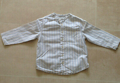 Next Boys Blue and White Collarless Cotton Shirt age 18-24 months
