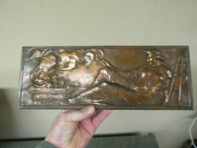ANTIQUE 19C BRONZED IRON PLAQUE CLASSICAL GREEK WOMAN MUSE BY FLAMING URN Mystic